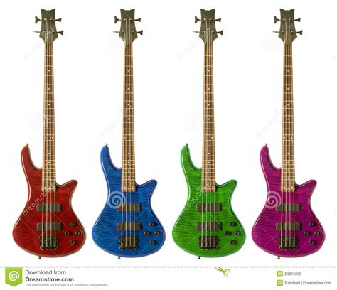 Colored Guitar by Multi Colored Bass Guitars Royalty Free Stock Photos