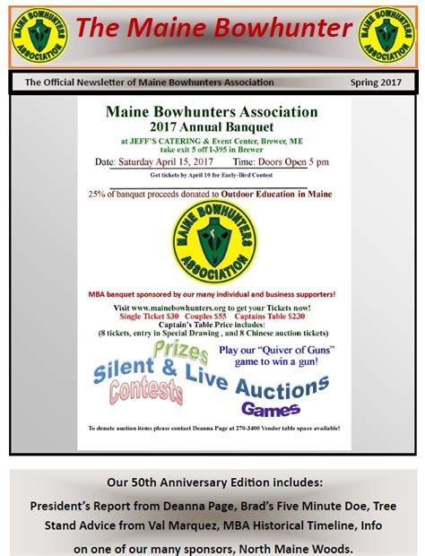 Mba Newsletter by Maine Bowhunters Association