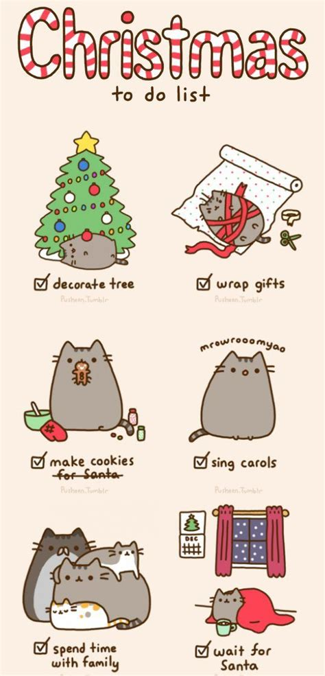 pusheen s christmas to do list my style pinterest