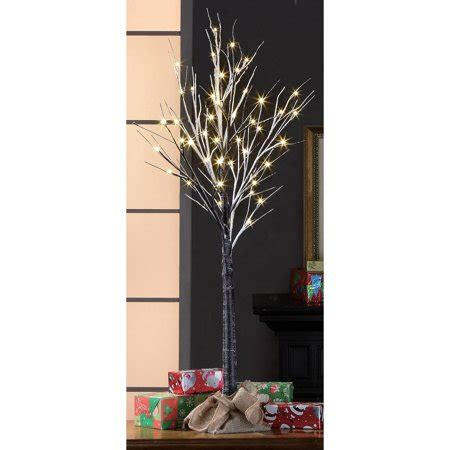 stick christmas trees with lights time pre lit 4 brown stick artificial tree warm white lights walmart