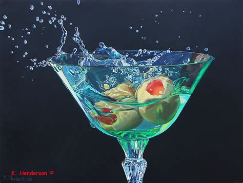 martini glass acrylic painting martini splash by k henderson painting by k henderson