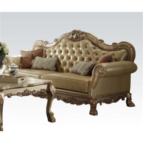 acme obert 3 piece living room set in brown acme furniture dresden 3 piece living room set in gold