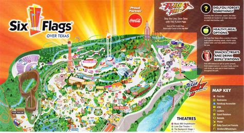six flags texas park map six flags texas 2013 park map