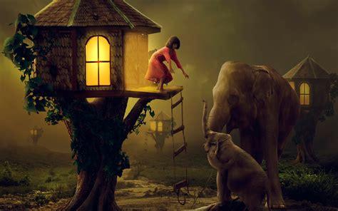 wallpaper girl tree house elephants hd creative
