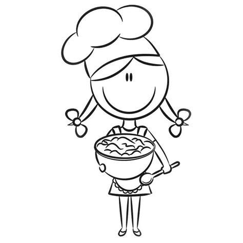 dibujos navideños para colorear facil imprimir dibujo de una ni 241 a cocinando para pintar