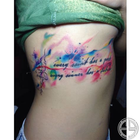 watercolor tattoo ribs francis watercolor sayings script watercolor ribs