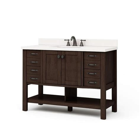 Bathroom Single Sink Vanity Shop Allen Roth Kingscote Espresso Undermount Single Sink Bathroom Vanity With Engineered