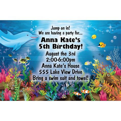 free printable under the sea birthday party invitations