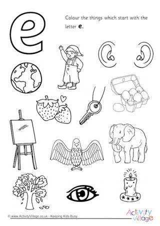 color starts with e initial letter colouring pages