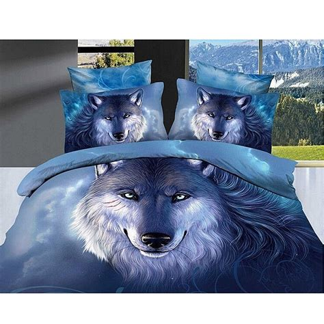 Wolves Bedding Set 3d Legend Of Blue Wolves Cotton Bedding Set Quilt Cover Bed Sheet Pillowcases Ebay