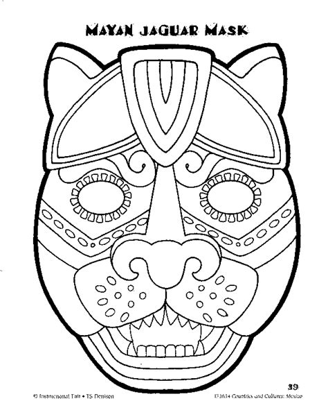 mayan coloring pages pdf printable mayan jaguar mask dušan čech coloring home