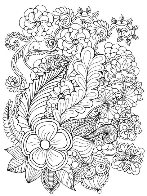 fantasy flowers coloring page stock vector illustration