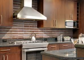 exceptional Red Glass Tile Kitchen Backsplash #7: modern-brown-cabinet-metal-kitchen-backsplash-tile.jpg