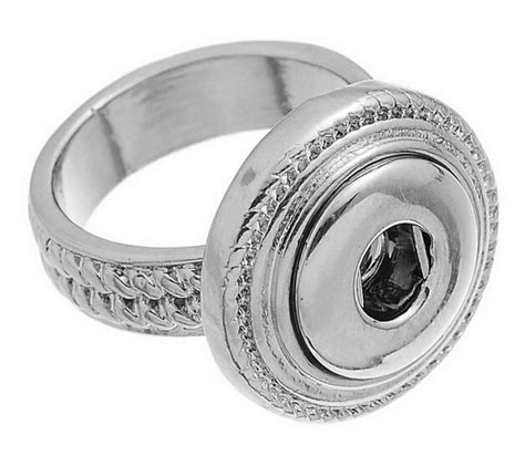 Snap Mini Button Ring noosa fashion size7 antique silver rings chunk mini snap