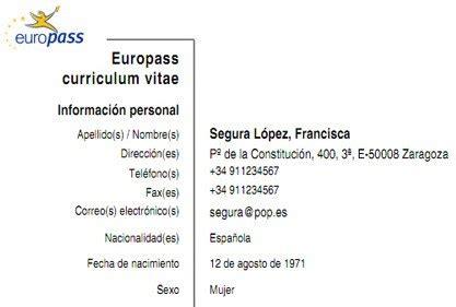 Plantilla Curriculum Union Europea Modelo Curriculum Europeo Europass Curriculumsvitae Net