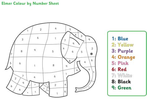 printable numbers eyfs elmer the elephant colour by numbers free early years