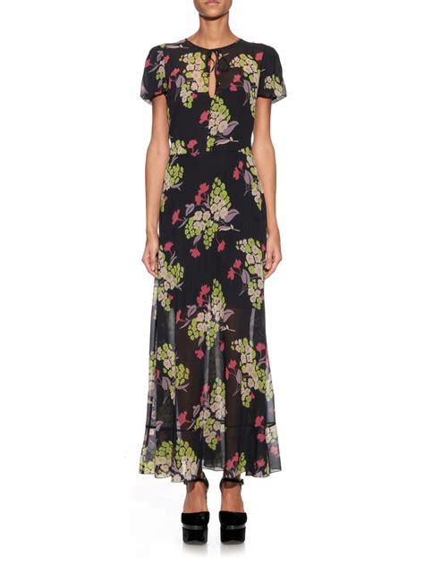 Dress Midi Vb Flower lyst valentino flower print silk blend chiffon midi