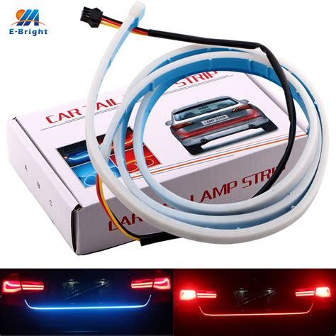 Blue Led Streamer Trunk Light Led Alir Bagasi Mobil Elegan 1200mm ym e bright 1set 120cm 150cm 335 led car styling dynamic streamer turn signal trunk lights