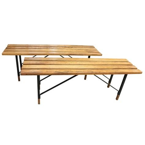 wood and metal bench wood slat benches with black metal bases for sale at 1stdibs