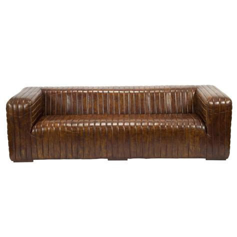 castle sofa in brown top grain leather on solid wood frame