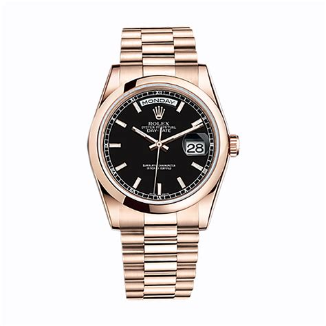 rolex angka black rosegold rolex day date 36 118205 gold black world s
