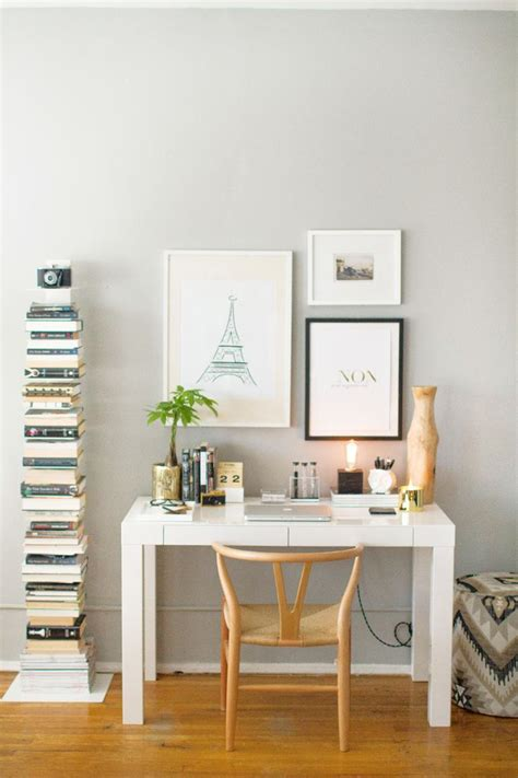 Office Desk Space How To Style A West Elm Parsons Desk White Lacquer Neutral Gold White Black
