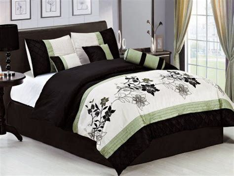 Bedroom In A Bag With Curtains 7 King Green Beige Black Pin Tuck Bed In A Bag