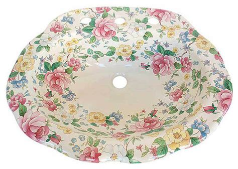floral bathroom sinks chintz floral drop in sink bathroom sinks las vegas by decorated porcelain company