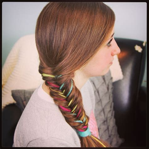 hair style with color yarn yarn extension fishtail braid temporary color highlights