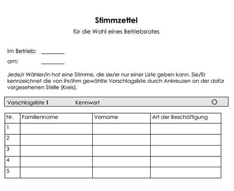 Word Vorlage Wahlzettel Muster Zum Stimmzettel F 252 R Eine Listenwahl