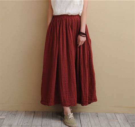 comfortable skirts 7 color cotton linen long skirts 2016 spring summer women