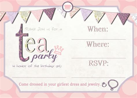 birthday invites free templates free high tea invitation templates high tea