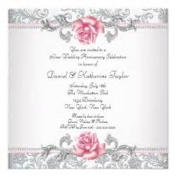pink rose damask silver 25th wedding anniversary