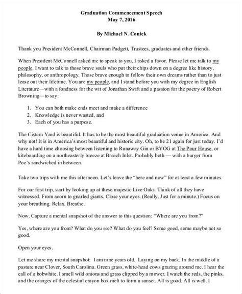 graduation speech 8 graduation speech exles sles pdf