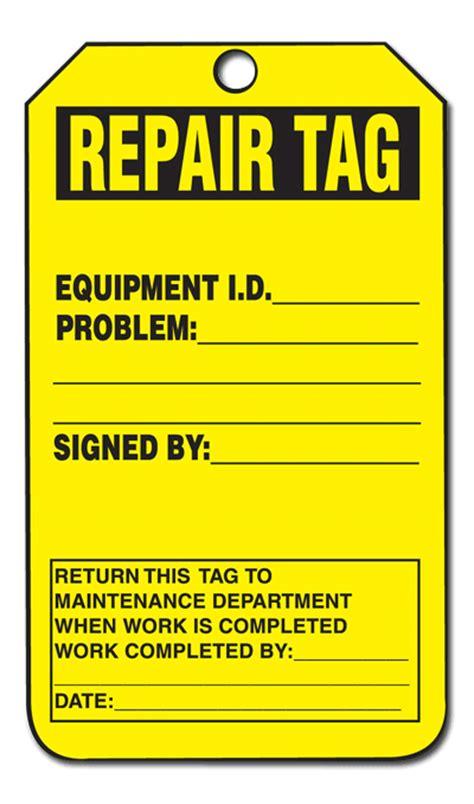 printable repair tags equipment status tags repair tag equip id problem return