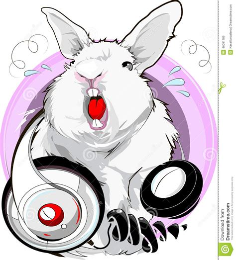 Rabbit Earphone With singing rabbit stock photo image 46091709
