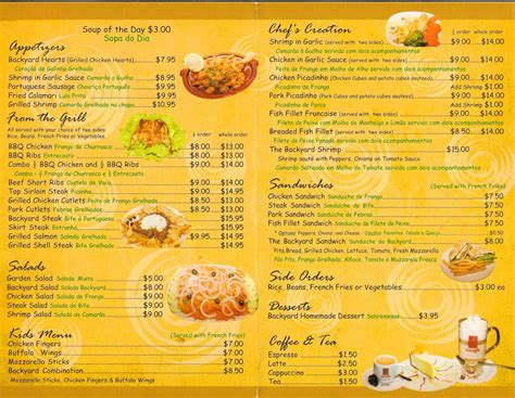backyard restaurant menu backyard grill menu menu for backyard grill union union
