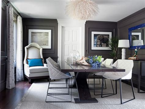 dark gray dining room dark gray walls and royal blue accents in the classy