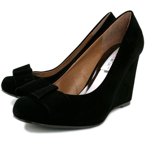 buy panama wedge heel court shoes black suede style