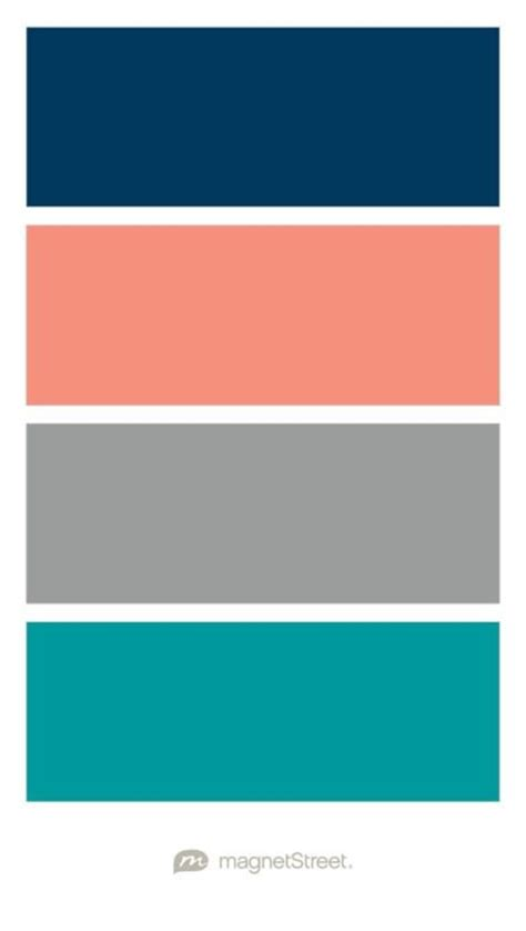 teal color schemes navy coral custom gray and teal wedding color palette