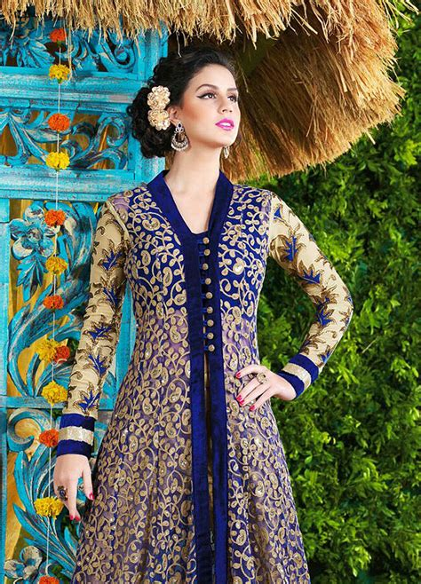 dress design in net royal blue and gold pant style anarkali