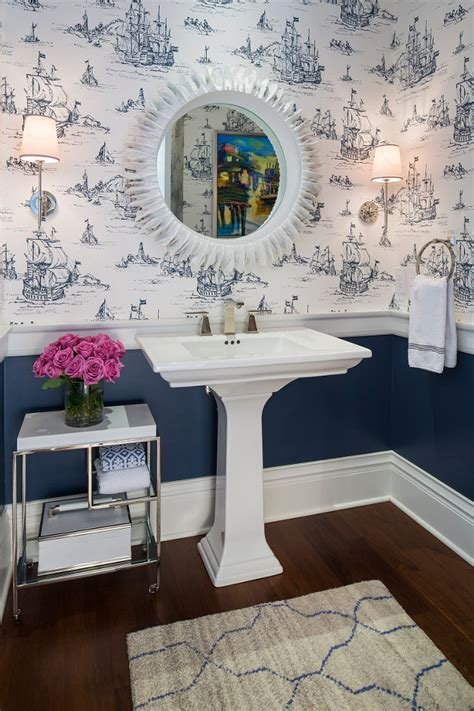 Powder Room Chair Traditional Coastal Home With Classic White Kitchen Home