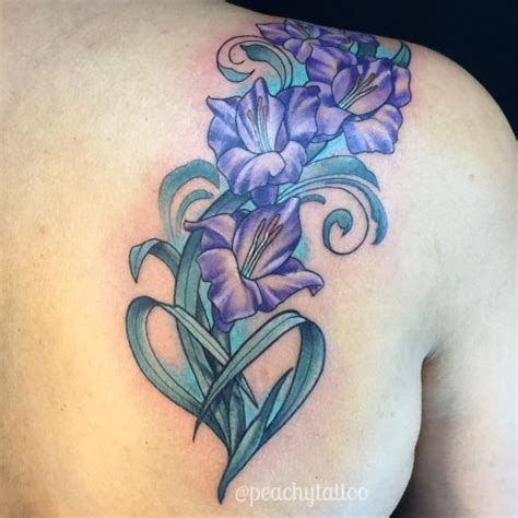 gladiolus flower tattoo purple gladiolus flowers on shoulder