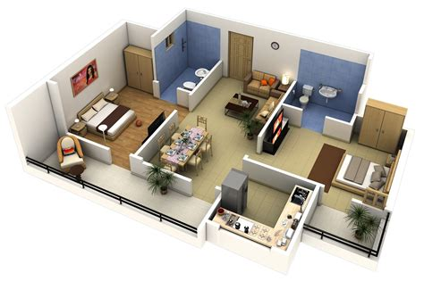 Two Bedrooms with 2 Bedroom Apartment House Plans