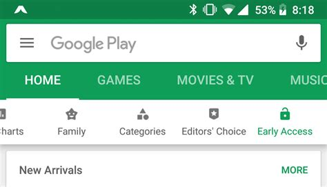 testing new play store ui with early access tab for