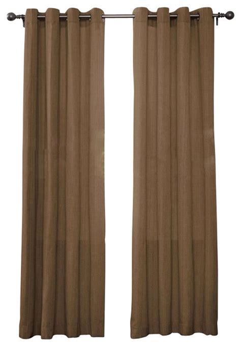 Brown Linen Curtains Set Of 2 Broadway Linen Textured Grommet Top Curtain Drapery Panels 84 Quot Brown Traditional