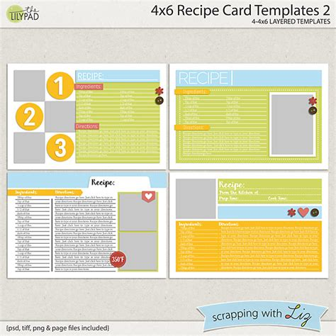 4x6 card template digital scrapbook templates 4x6 recipe card 2