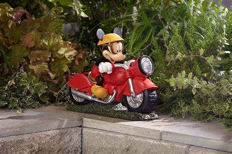 disney mickey motorcycle solar outdoor living outdoor decor lawn ornaments statues