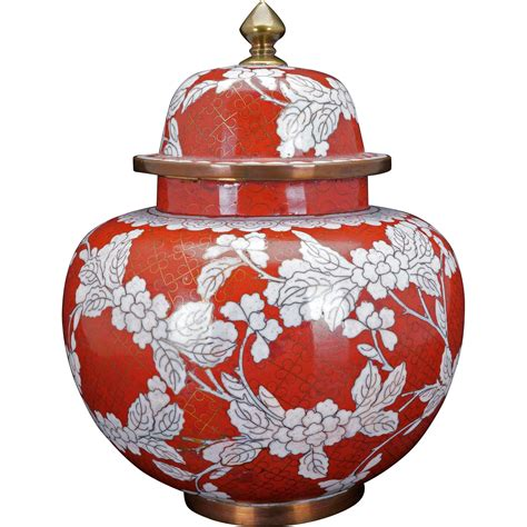 white ginger jar l chinese copper based cloisonn 233 red and white ginger jar