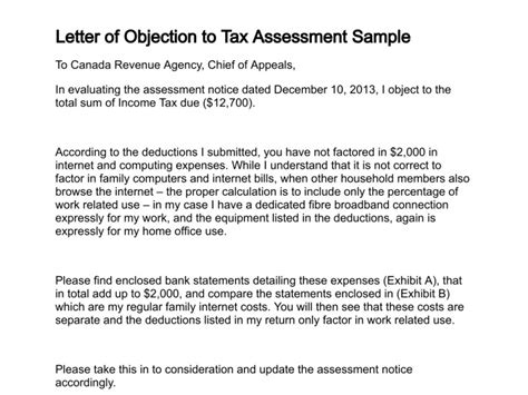 Tax Dispute Letter Template Letter Of Objection